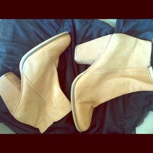 Vince Camuto tan leather booties.